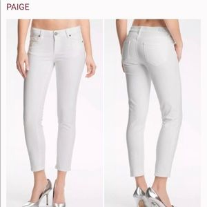 Paige Denim Kylie Cropped White Low Rise Jeans